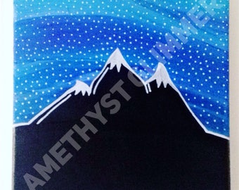 Midnight Mountains Canvas Painting