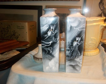 Two Antique Vintage Asian Dragon Vases, Noritake, Bone China, Japan  (Price for both)