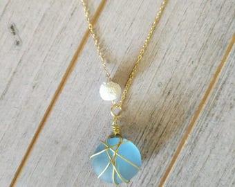 Seaglass + LAVA Diffuser Necklace, lava necklace, diffuser necklace, lava stone necklace