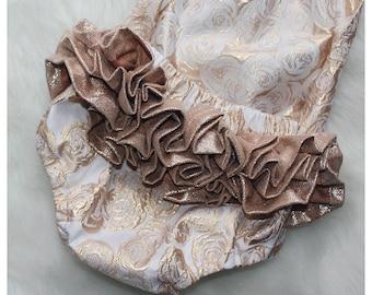 Rose Gold Debossed Floral Ruffle Romper