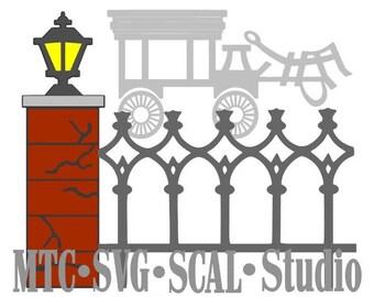 SVG Cut File Haunted Mansion Light Post and Hearse Embellishment Silhouette MTC SCAL Cricut