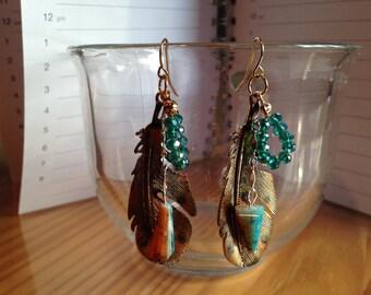 Feather Dangle Earrings, Dangle, Feather, Aqua, Turquoise