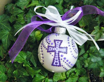 Cross Ornament Personalized,  Baptism Ornament, First Communion or Memorial - Hand Painted - for Boy or Girl, Christening Gift, Christmas