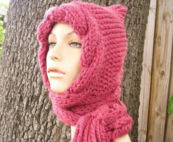 Pink Womens Hat Hooded Scarves - Pink Cable Scarf Hat Raspberry Pink Hooded Scarf Knit Hat - Pink Hat Pink Scarf - 34 Color Choices