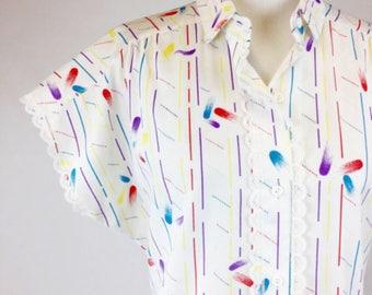 White Striped Shirt, Red Yellow Blue Purple Paint Splashes, Vintage 80s Top, Lace Trim, Cap Sleeve, Collar, Medium Lightweight Summer Shirt