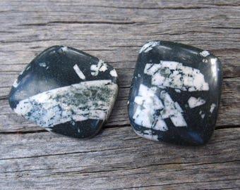 Chinese Writing Stone Cabochons black and white gemstones