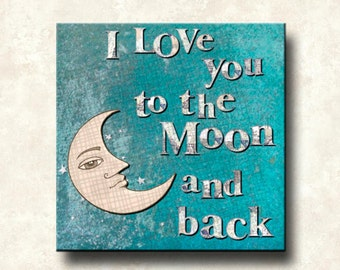 Moon and Back Contemporary - 5x5 Greeting Card - Word Art Prints - Blue Teal Seafoam I Love You