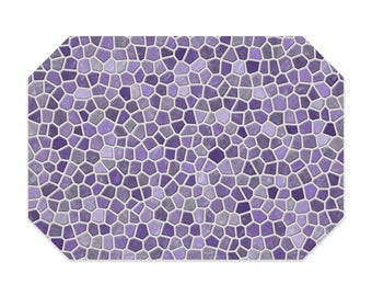 Lavender placemat, printed cloth placemat, purple and gray mosaic design, fabric placemat, table linens, table setting, home decor