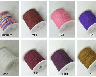 750 Yards(5 Rolls)ECO 0.4mm Chinese Knotting Cord/Braided Macrame Nylon Bead Cord--31 different colors for Choose