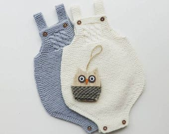 cotton merino Knit Baby romper -  handmade onesies - baby pants - newborn romper - baby overalls  - baby photo props -