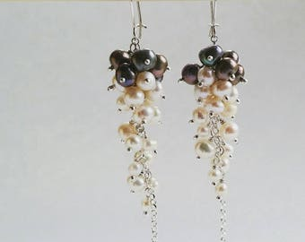 925 Sterling Silver Graduated Pearl Cluster Earrings - Silver and White Pearls Clustered onto a Sterling Silver Chain - Elegant, Unique, Gem