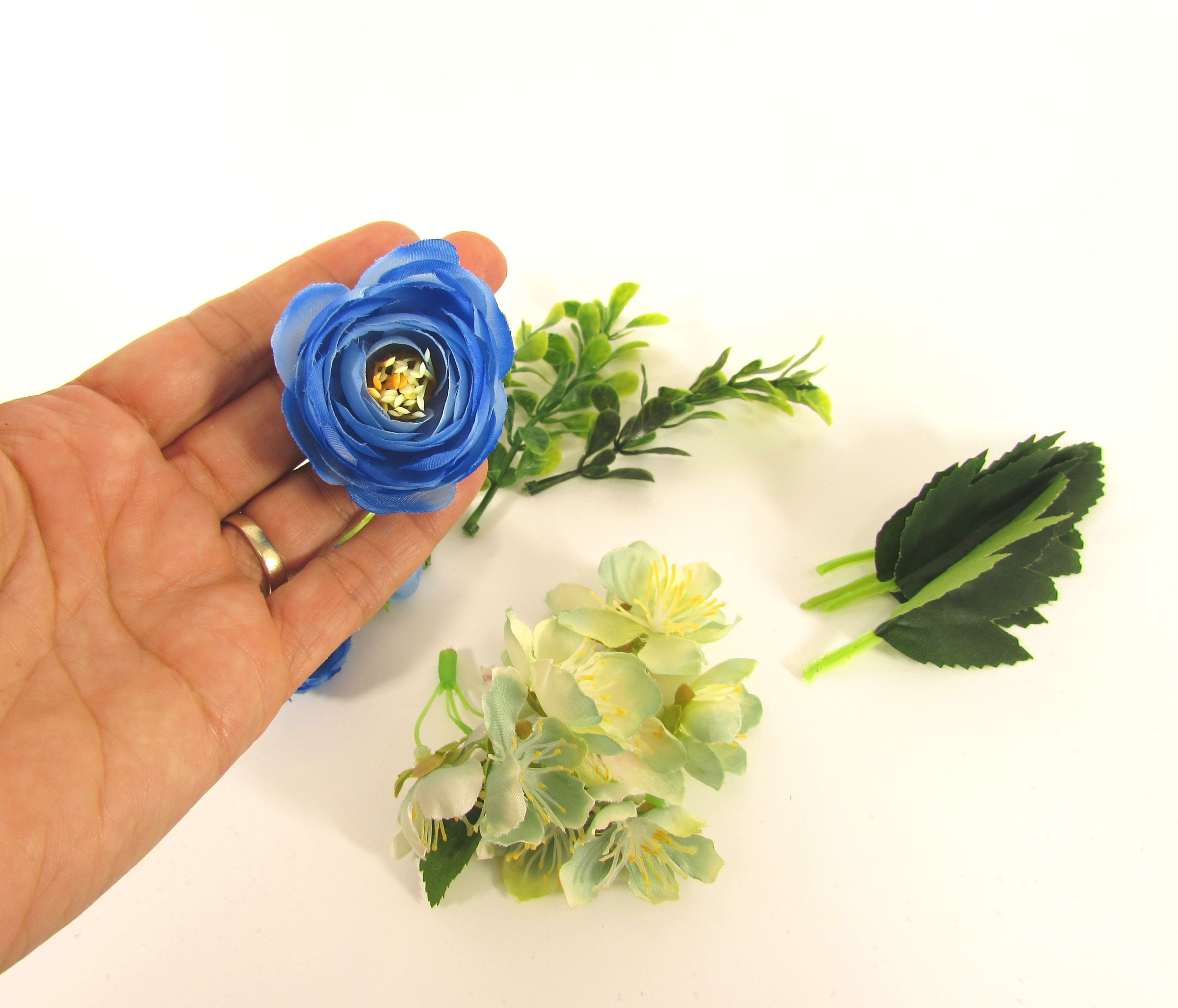 Artificial Flowers Blue Flowers Fake Flowers Silk Ranunculus With 2