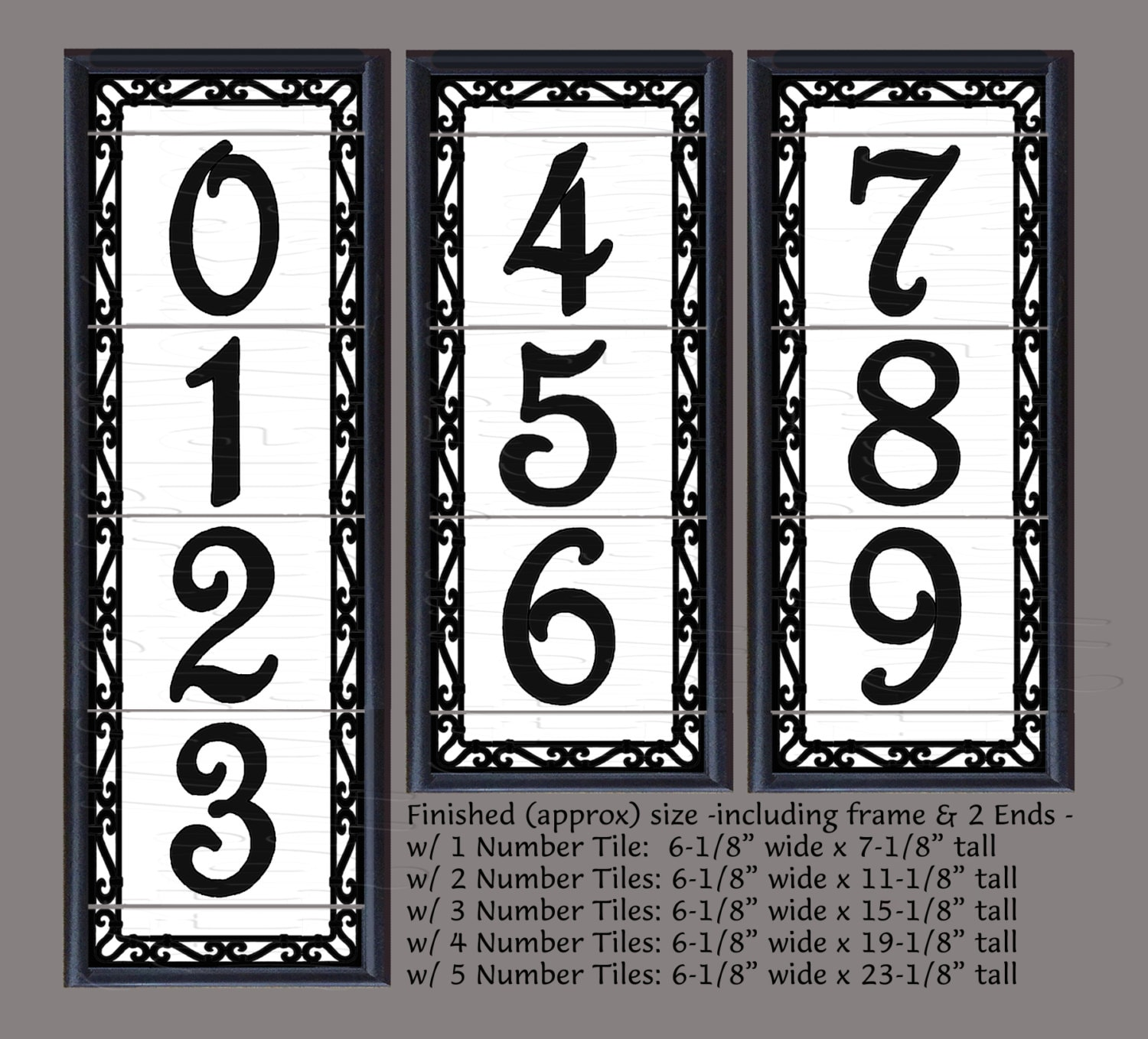 Framed decorative tile house numbers framed decorative zoom dailygadgetfo Images