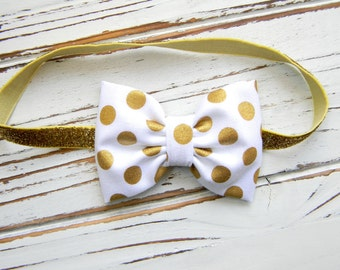 Gold Polka Dot Bow Headband, Baby Gold Headband, Baby Bow Headband,  Gold Glitter Headband