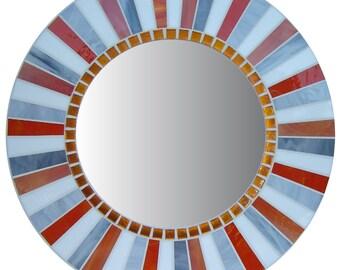 Round Mirror | Wall Mirror | Mosaic Mirror | Accent Mirror | Orange Mirror | White, Orange, Gray