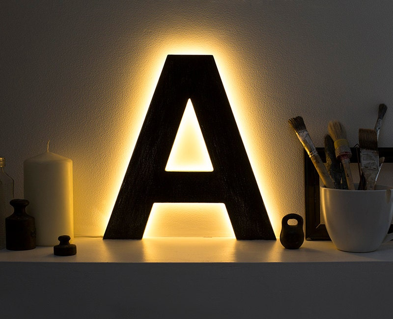 Led Lamps Letter Lights Light Up Initials Led Home Decor
