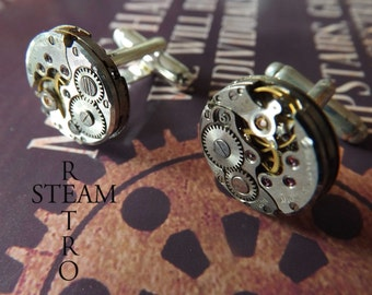 Steampunk Cufflinks 16mm round vintage Chaika watch movements personalized jewelry, steampunk cufflinks