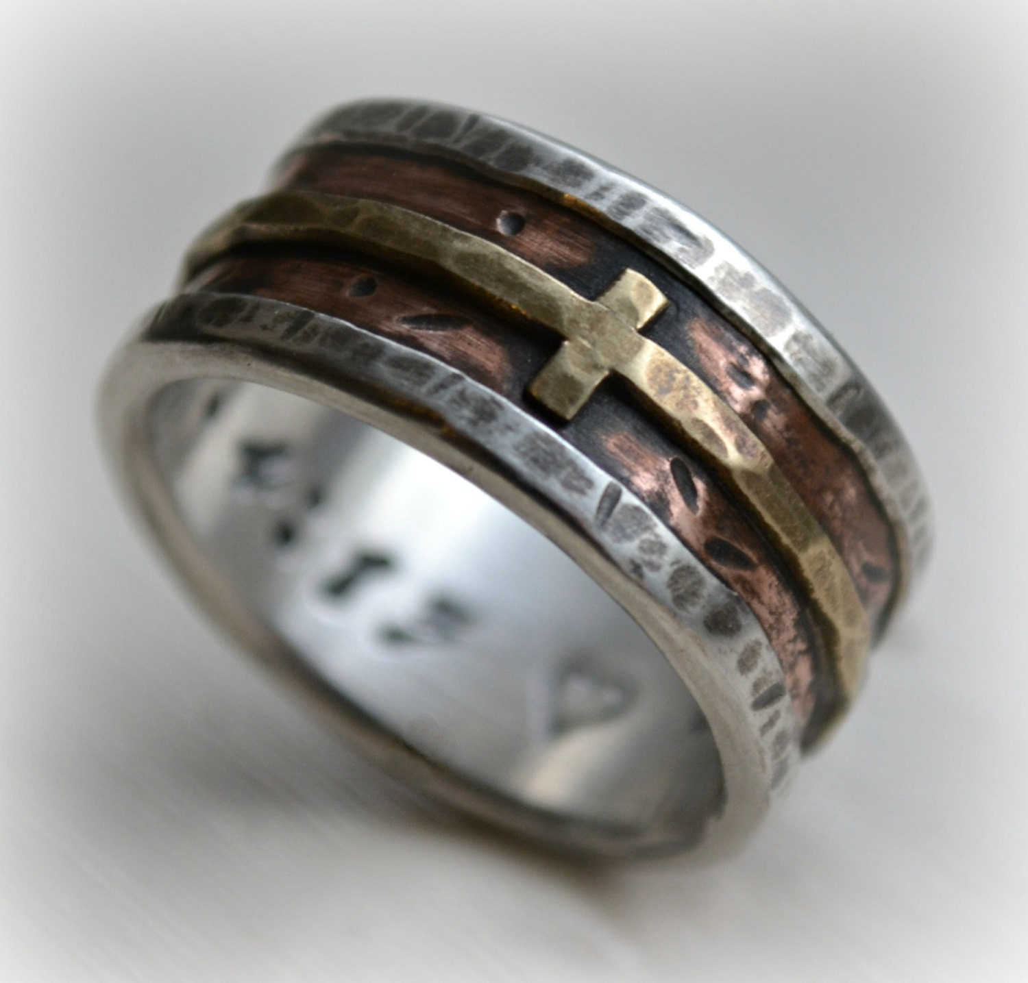 christian wedding rings sets mens wedding band rustic silver copper and brass cross 2924