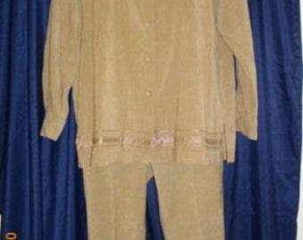 Magic Brown 14 Large L 2 Piece Pants Suit Polyester Spandex Jacket Slacks Pants