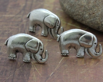 10 Elephant  Charms Connector Antiqued Silver Tone 15 x 25 mm