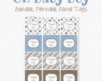 Party Favor Tags, Treat Bag Labels, Thank You Tag, Blue and Brown, Birthday Party, Boy Baby Shower Decor - Editable, Printable