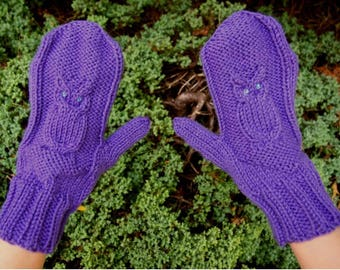 Purple Owl Mittens Handknit with Sequins - Purple Knit Mittens - Cute Vegan Knit Mittens with Owls - Purple Owl Mitts - Vegan Mittens