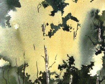 Little Aspen Grove III - Original Watercolor Painting