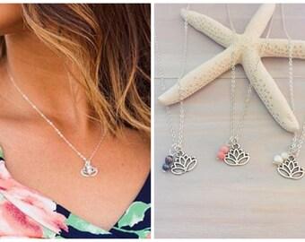 Lotus Flower Necklace - Sliver Lotus Necklace - Yoga Necklace - Namaste Necklace - Yoga Jewelry - Yoga Gift - Silver Flower Necklace