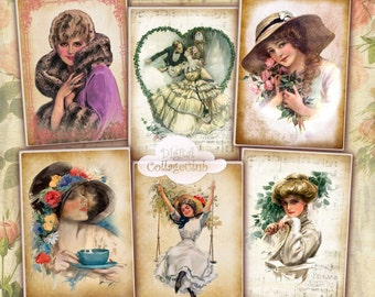 Harrison Fisher Shabby Chic Vintage Lady Digital Jewelry Holder ATC Cards Digital Collage Sheet Digital Greeting Cards Labels