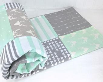 Woodland Baby Blanket, Woodland Nursery Decor, Minky Baby Blanket, Baby Gift, Grey, Gray, Mint, Mint Green, Deer, Buck, Arrow, Tribal, White