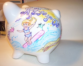 Personalized Piggy Bank - Beach Baby Handpainted