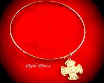 Vintage Catholic Four Way Cross Gold Plated Bangle Virgin Mary, Sacred Heart of Jesus, St. Joseph, St Christopher, OL Mt Carmel