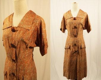1950's Day Dress/Polished Cotton Dress