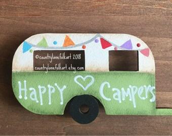 kitchen magnets, vintage camper magnet, happy camper,  refrigerator magnets, hand painted wood camper, camper decor, mothers day gift, green