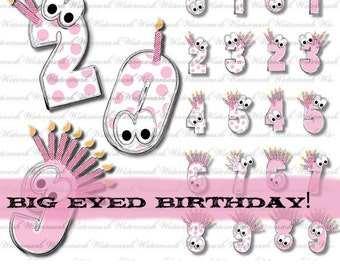 Birthday clip art numbers in pink solid and dots polka dot 0 1 2 3 4 5 6 7 8 9  : c0245 3s2223