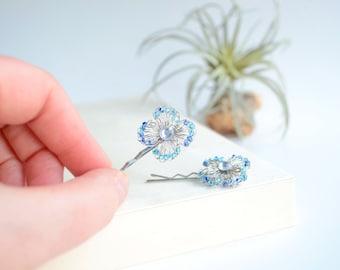 Turquoise Beaded Hair Pins in Silver Wire Crochet - Elegant & Distinctive, Grad Hair Pins, Bridal Hair Pins