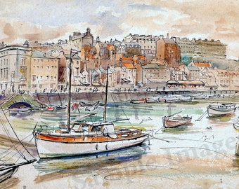 Whitby Yorkshire Coast English countryside LARGE Art Print of original watercolor painting dated 1936.
