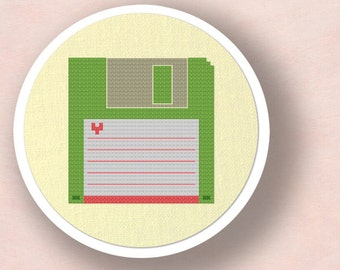 Floppy Disk Cross Stitch Pattern. Old School Floppy Cross Stitch, Modern Simple Cute Counted Cross Stitch PDF Pattern Instant Download