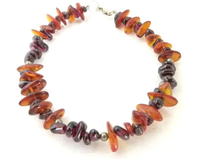 Vintage Amber Bracelet, Amethyst & Amber Bracelet, Boho Beaded Bracelet