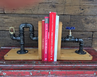 Bookend in hydraulic tubes Steampunk/Industrial style
