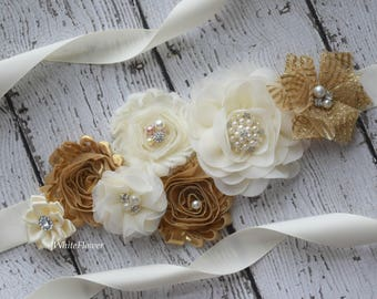 Gold ivory sash, flower Belt, maternity sash, wedding sash, flower girl sash, maternity sash belt