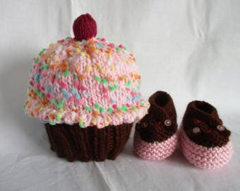Cupcake - Baby Hat only, or Hat and Booties Set