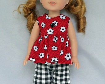 Soccer Ball Top and Shorts Doll Outfit Handmade To Fit 14.5 Inch Dolls Like Wellie Wishers