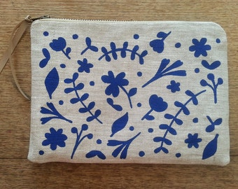 Colbalt blue floral flat zip pouch grey linen- screen printed and handmade