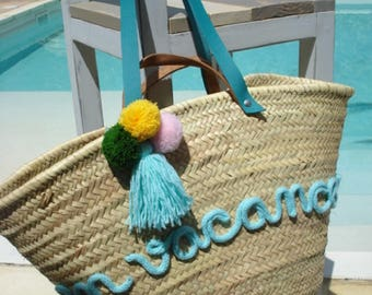 Large beach Tote straw text knitting basket
