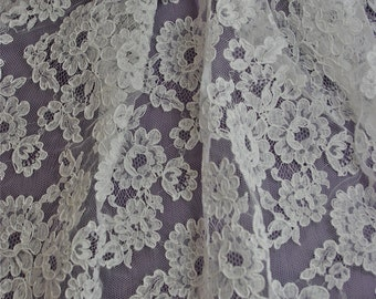 """White French Alencon Bridal Lace Fabric 33"""" wide SOLD/Priced by the 1/2 yard"""