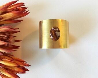 SEDONA // Brass Cuff with Red Stone