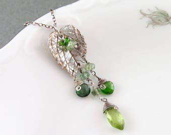 Broken silver leaf pendant, handmade recycled fine silver leaf with peridot, chrome diopside and green apatite-OOAK green gemstone necklace