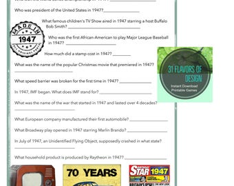 1947 Birthday Trivia Game-| 70TH Birthday Party Trivia | Instant Download