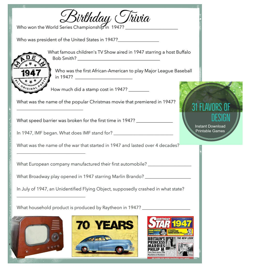 1947 Birthday Trivia Game 70TH Party